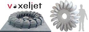 3200 Kg Stainless Steel Pelton Runner from voxeljet`s 3D printed molds & cores