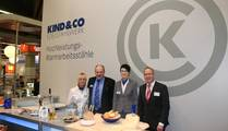 Kind & Co Edelstahlwerk, Germany Christof Greb / Sales Manager (2nd left), Sandra Hartmann / Sales (2nd right) and Jörg Fritzsche from AWEBA (right)