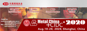 New dates of METAL CHINA 2020: August 18th -20th