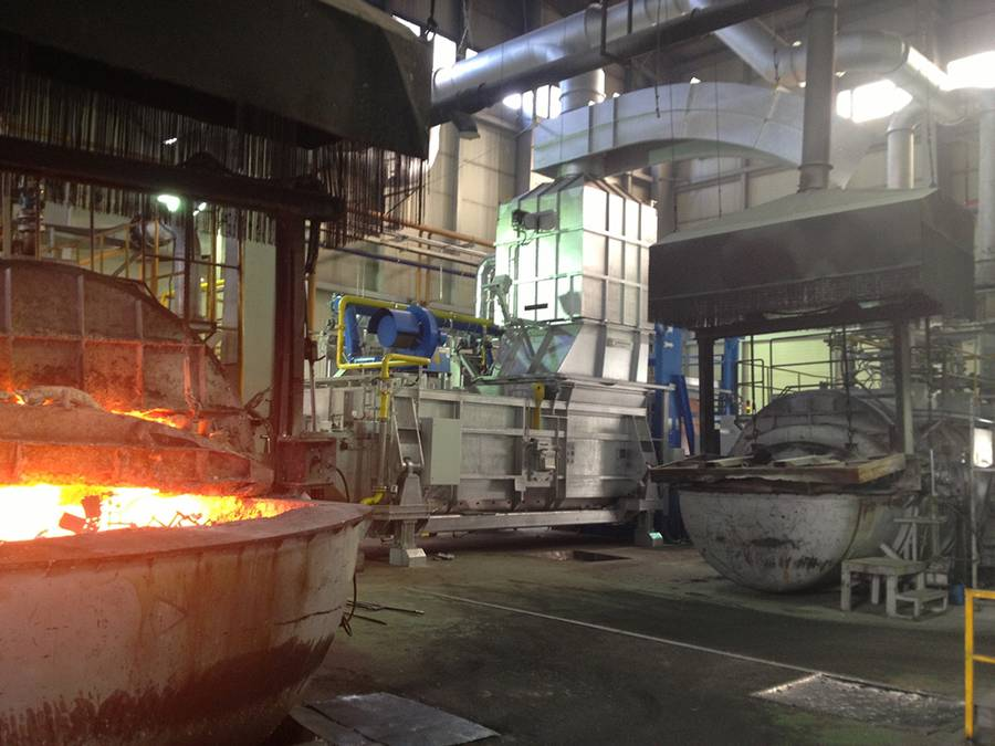 """Modernization with foresight in the foundry """"Inzi Amt"""": the StrikoMelter installed reduces the energy consumption from more than 120 m3 of natural gas per tonne of molten aluminium to less than 60 m3."""